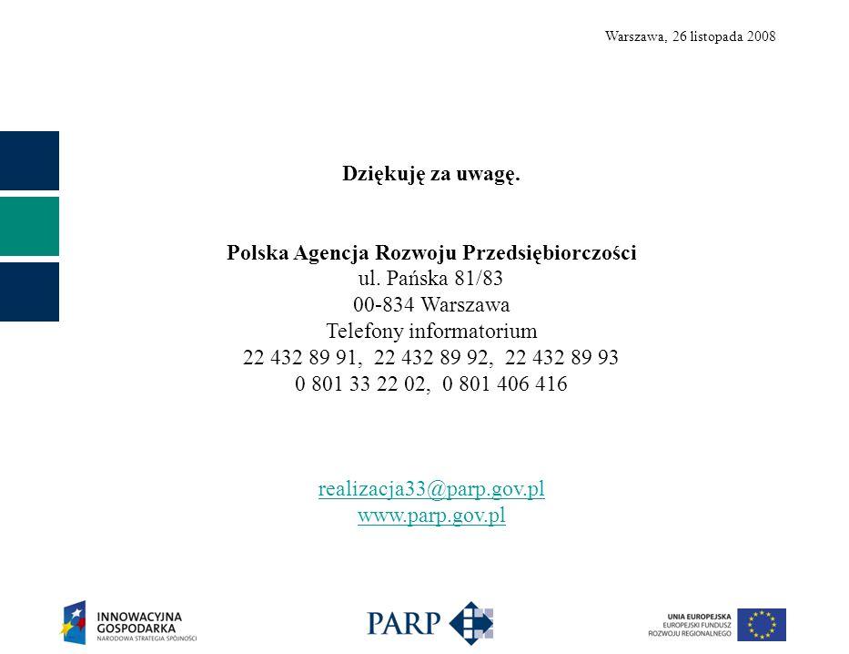 Warszawa, 26 listopada 2008 Dziękuję za uwagę. Polska Agencja Rozwoju Przedsiębiorczości ul. Pańska 81/83 00-834 Warszawa Telefony informatorium 22 43