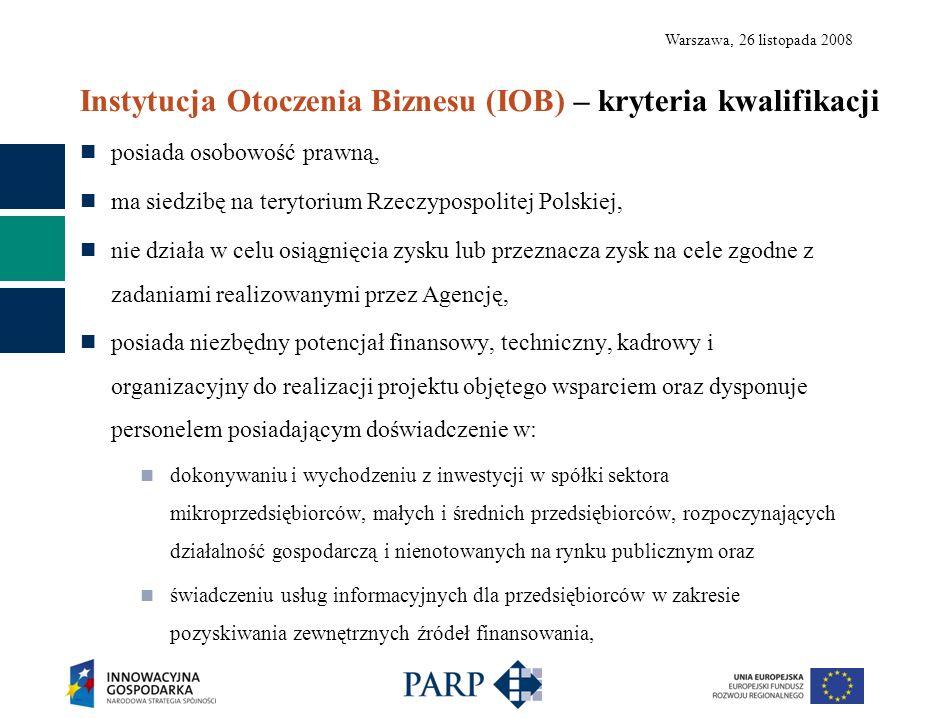 Warszawa, 26 listopada 2008 Instytucja Otoczenia Biznesu (IOB) – kryteria kwalifikacji posiada osobowość prawną, ma siedzibę na terytorium Rzeczypospo