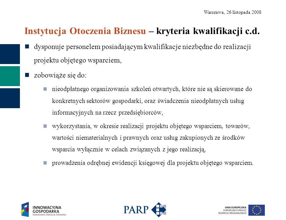 Warszawa, 26 listopada 2008 Instytucja Otoczenia Biznesu – kryteria kwalifikacji c.d. dysponuje personelem posiadającym kwalifikacje niezbędne do real