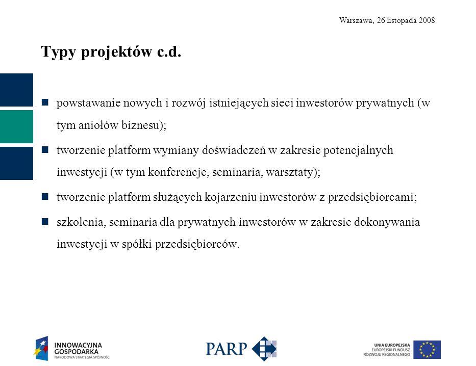 Warszawa, 26 listopada 2008 Typy projektów c.d. powstawanie nowych i rozwój istniejących sieci inwestorów prywatnych (w tym aniołów biznesu); tworzeni