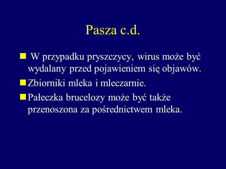 Pasza c.d. W przypadku pryszczycy, wirus może być wydalany przed pojawieniem się objawów. Zbiorniki mleka i mleczarnie. Pałeczka brucelozy może być ta