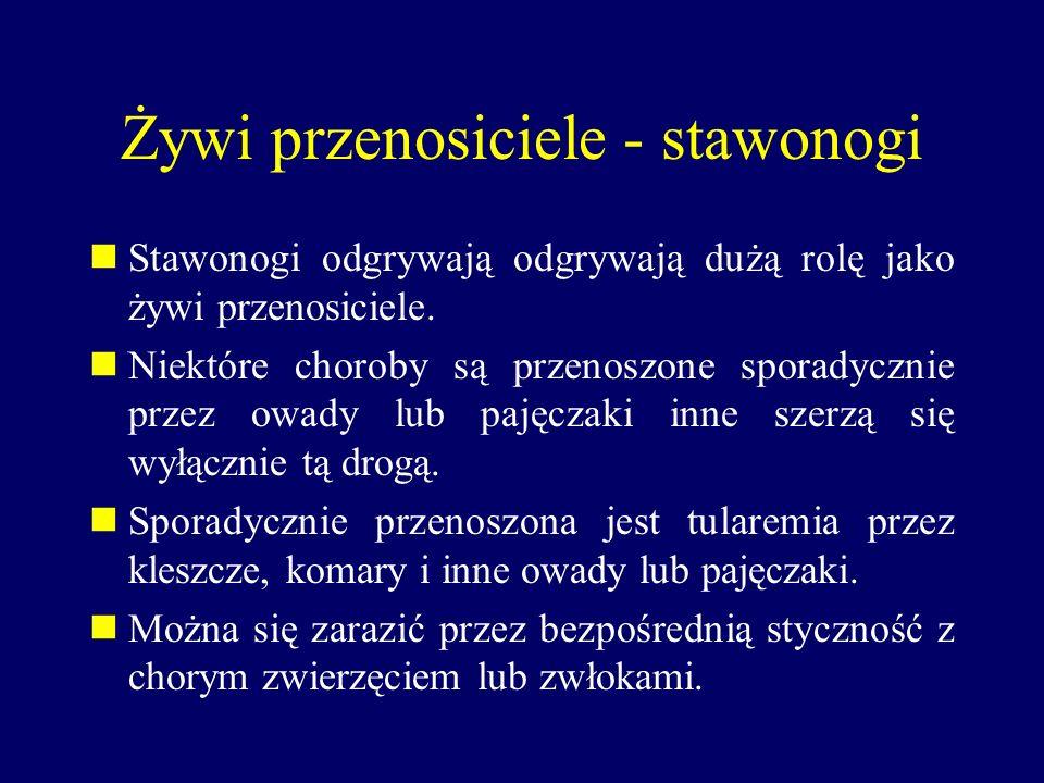 Żywi przenosiciele - stawonogi Stawonogi odgrywają odgrywają dużą rolę jako żywi przenosiciele. Niektóre choroby są przenoszone sporadycznie przez owa