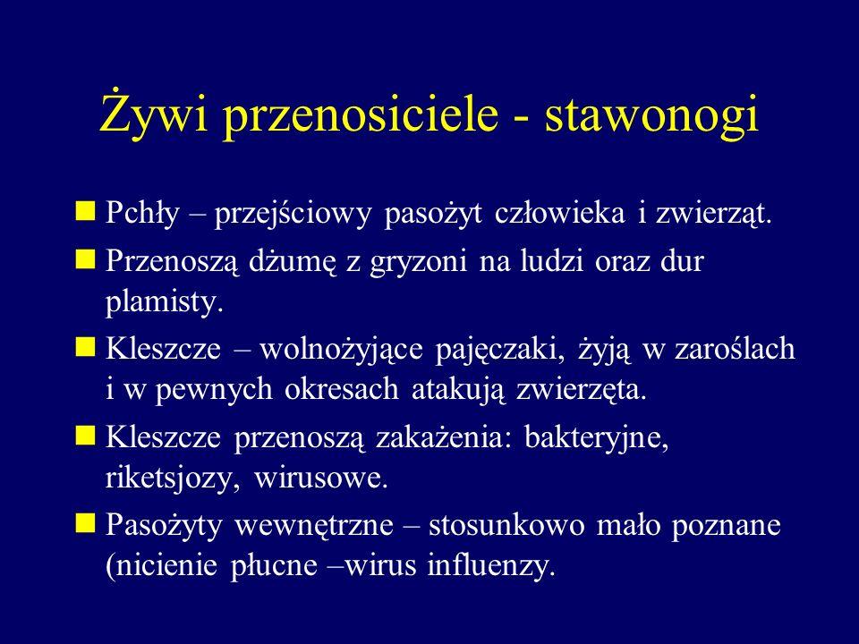 Żywi przenosiciele - stawonogi Pchły – przejściowy pasożyt człowieka i zwierząt. Przenoszą dżumę z gryzoni na ludzi oraz dur plamisty. Kleszcze – woln