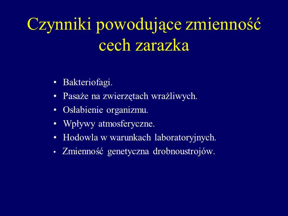 Czynniki powodujące zmienność cech zarazka Bakteriofagi. Pasaże na zwierzętach wrażliwych. Osłabienie organizmu. Wpływy atmosferyczne. Hodowla w warun