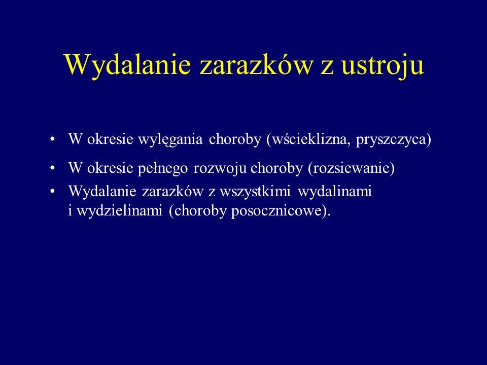 Wydalanie zarazków z ustroju W okresie wylęgania choroby (wścieklizna, pryszczyca) W okresie pełnego rozwoju choroby (rozsiewanie) Wydalanie zarazków