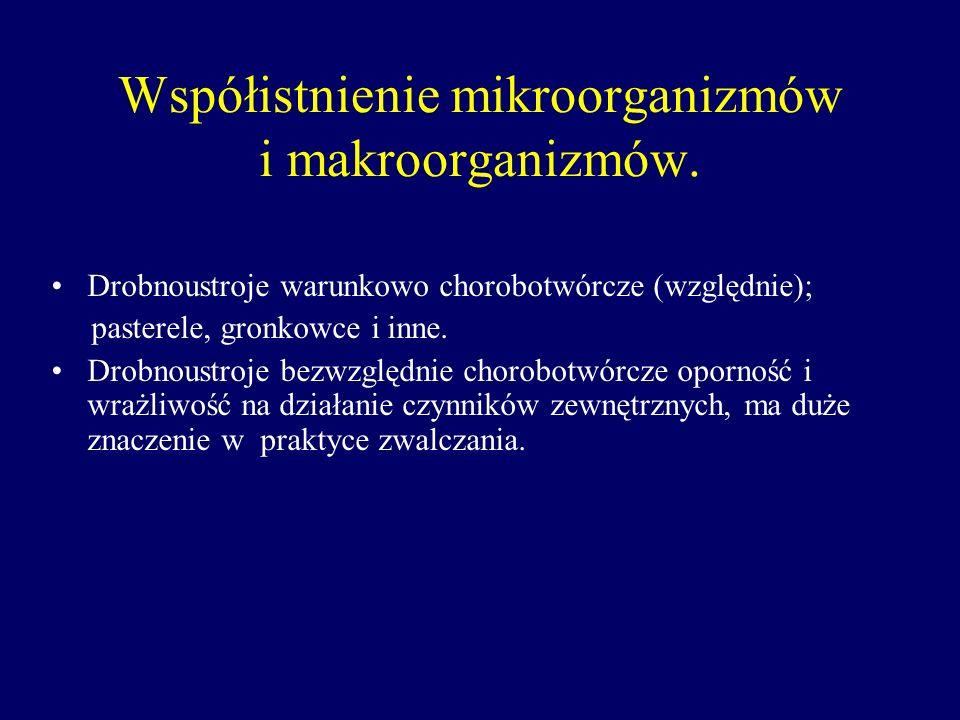 Współistnienie mikroorganizmów i makroorganizmów. Drobnoustroje warunkowo chorobotwórcze (względnie); pasterele, gronkowce i inne. Drobnoustroje bezwz