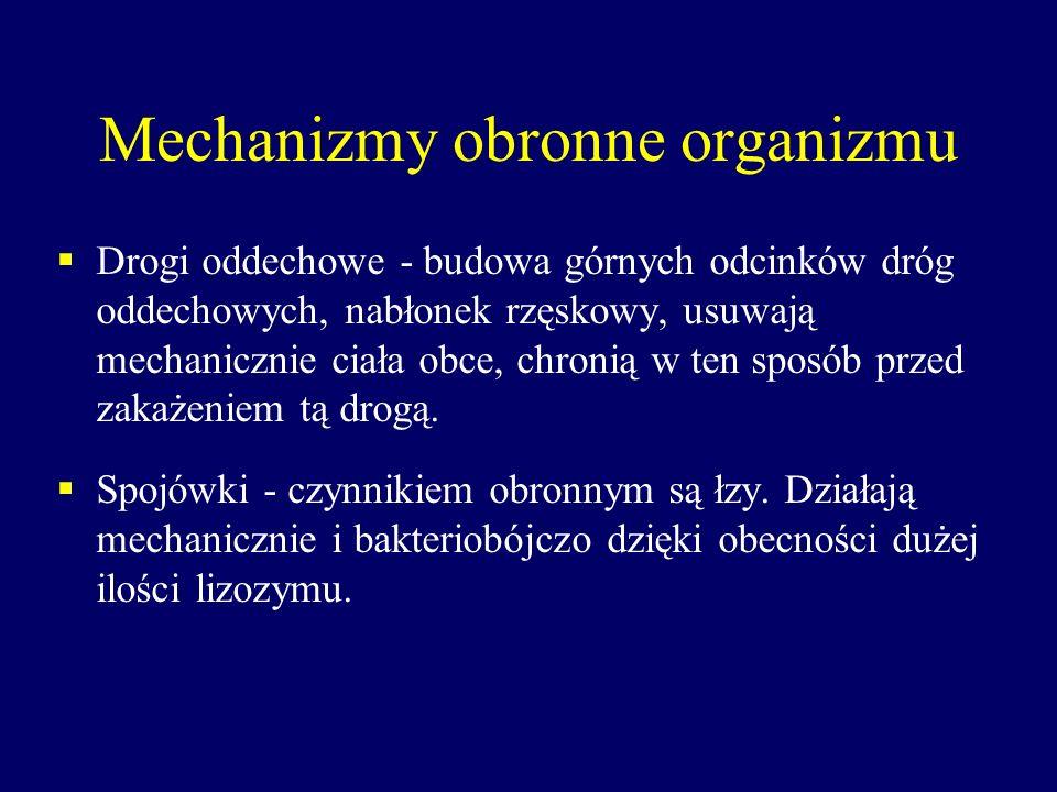 Mechanizmy obronne organizmu Drogi oddechowe - budowa górnych odcinków dróg oddechowych, nabłonek rzęskowy, usuwają mechanicznie ciała obce, chronią w