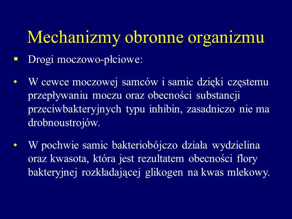 Mechanizmy obronne organizmu Drogi moczowo-płciowe: W cewce moczowej samców i samic dzięki częstemu przepływaniu moczu oraz obecności substancji przec