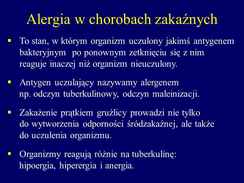 Alergia w chorobach zakaźnych To stan, w którym organizm uczulony jakimś antygenem bakteryjnym po ponownym zetknięciu się z nim reaguje inaczej niż or