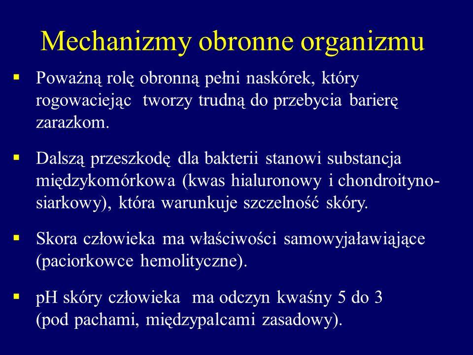 Mechanizmy obronne organizmu Skóra jednak reprezentuje małą część spośród naturalnych mechanizmów obronnych organizmu.