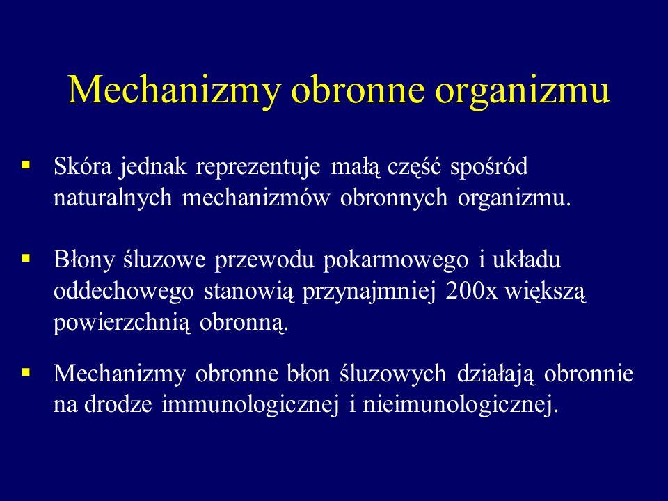 Mechanizmy obronne organizmu Skóra jednak reprezentuje małą część spośród naturalnych mechanizmów obronnych organizmu. Błony śluzowe przewodu pokarmow