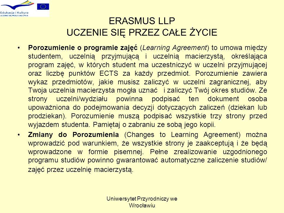 Uniwersytet Przyrodniczy we Wrocławiu ERASMUS LLP UCZENIE SIĘ PRZEZ CAŁE ŻYCIE Porozumienie o programie zajęć (Learning Agreement) to umowa między studentem, uczelnią przyjmującą i uczelnią macierzystą, określająca program zajęć, w których student ma uczestniczyć w uczelni przyjmującej oraz liczbę punktów ECTS za każdy przedmiot.