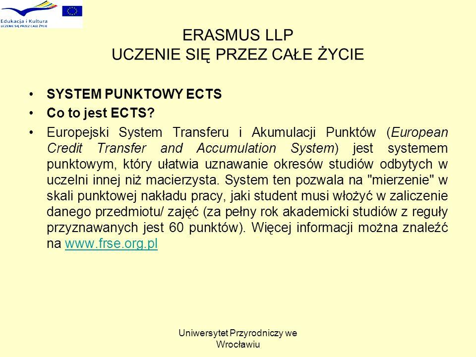 Uniwersytet Przyrodniczy we Wrocławiu ERASMUS LLP UCZENIE SIĘ PRZEZ CAŁE ŻYCIE SYSTEM PUNKTOWY ECTS Co to jest ECTS? Europejski System Transferu i Aku