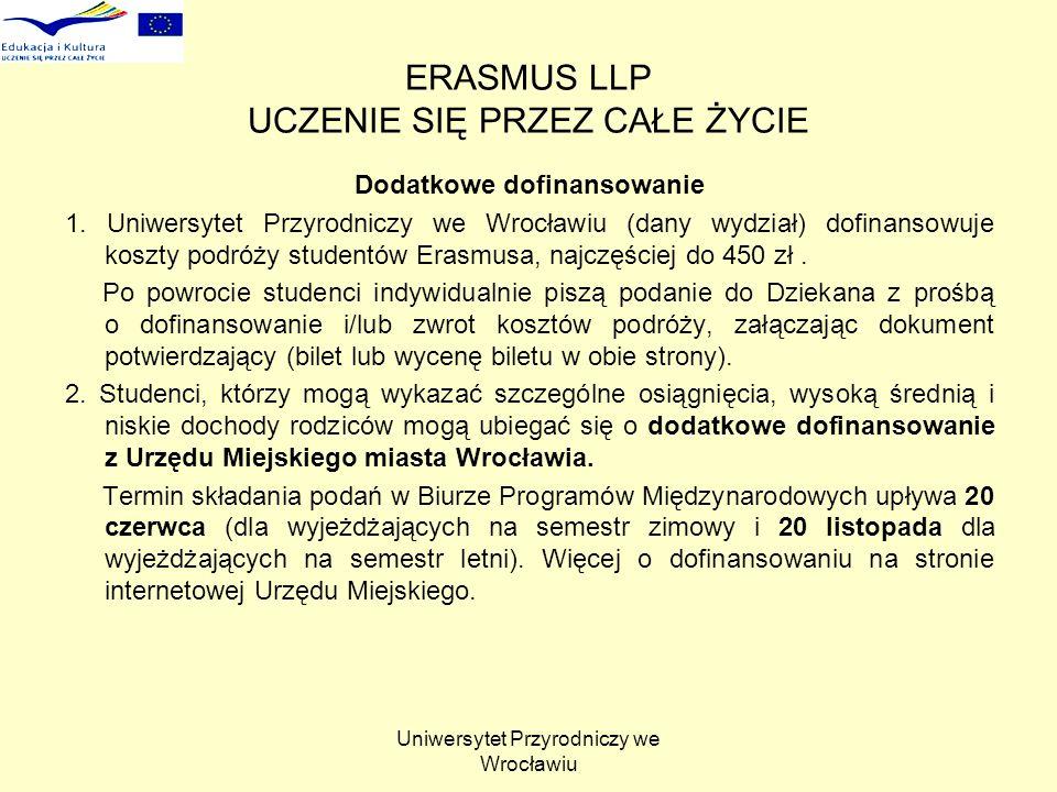 Uniwersytet Przyrodniczy we Wrocławiu ERASMUS LLP UCZENIE SIĘ PRZEZ CAŁE ŻYCIE Dodatkowe dofinansowanie 1. Uniwersytet Przyrodniczy we Wrocławiu (dany