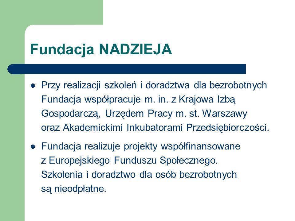 Fundacja NADZIEJA Przy realizacji szkoleń i doradztwa dla bezrobotnych Fundacja współpracuje m.