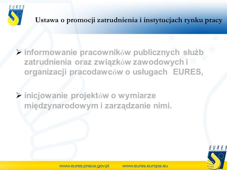 informowanie pracownik ó w publicznych służb zatrudnienia oraz związk ó w zawodowych i organizacji pracodawc ó w o usługach EURES, inicjowanie projekt