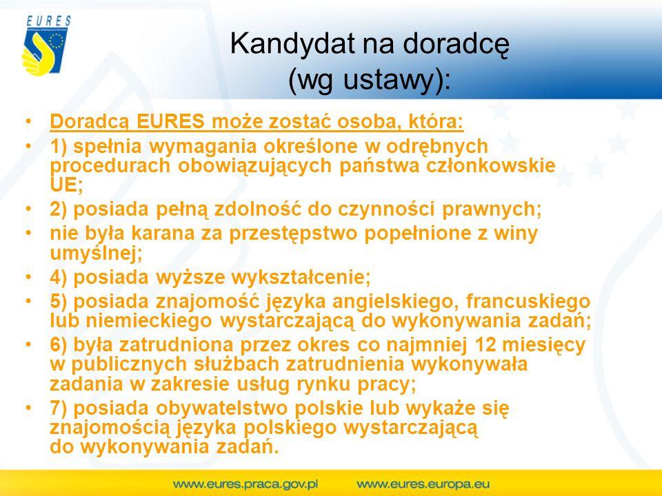Kandydat na doradcę (wg ustawy): Doradcą EURES może zostać osoba, która: 1) spełnia wymagania określone w odrębnych procedurach obowiązujących państwa
