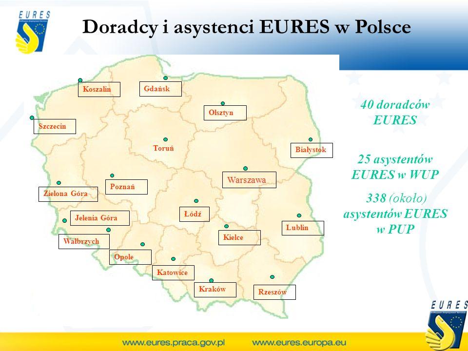 Doradcy i asystenci EURES w Polsce Szczecin Gdańsk Toruń Poznań Zielona Góra Wałbrzych Opole Katowice Kraków Łódź Kielce Rzeszów Lublin Warszawa Biały