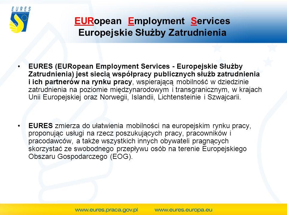 EURopean Employment Services Europejskie Służby Zatrudnienia EURES (EURopean Employment Services - Europejskie Służby Zatrudnienia) jest siecią współp
