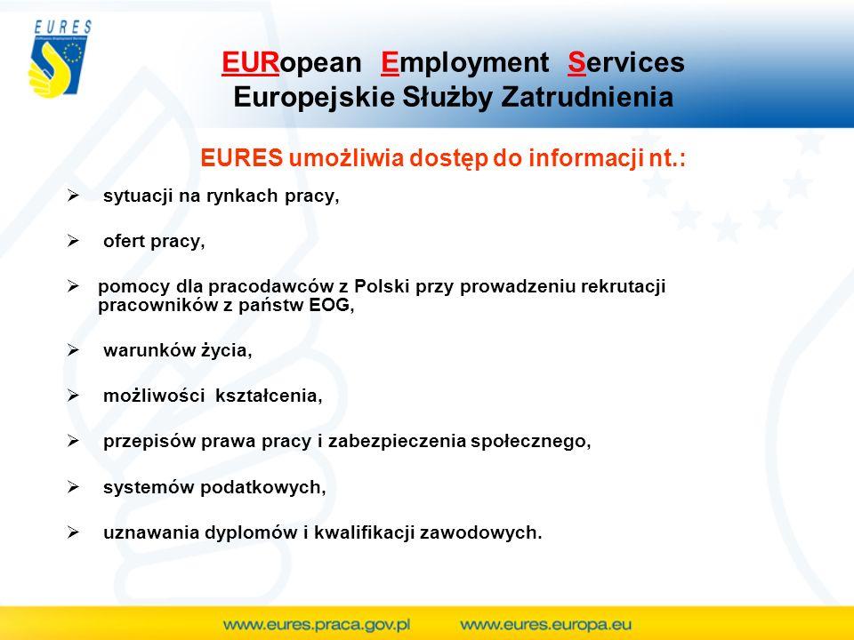 EURES umożliwia dostęp do informacji nt.: sytuacji na rynkach pracy, ofert pracy, pomocy dla pracodawców z Polski przy prowadzeniu rekrutacji pracowni