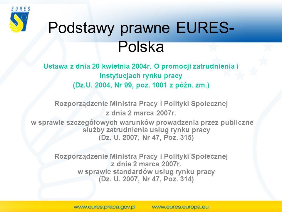 Podstawy prawne EURES- Polska Ustawa z dnia 20 kwietnia 2004r. O promocji zatrudnienia i instytucjach rynku pracy (Dz.U. 2004, Nr 99, poz. 1001 z późn