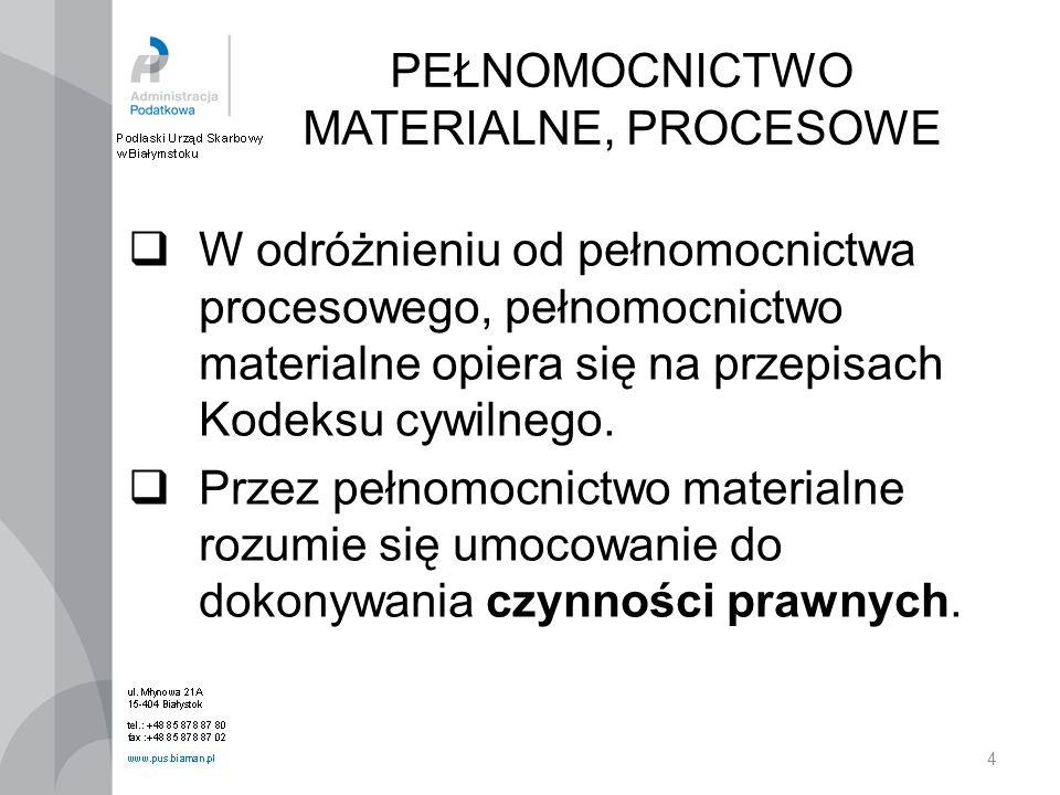 4 PEŁNOMOCNICTWO MATERIALNE, PROCESOWE W odróżnieniu od pełnomocnictwa procesowego, pełnomocnictwo materialne opiera się na przepisach Kodeksu cywilne