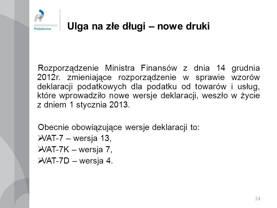 24 Ulga na złe długi – nowe druki Rozporządzenie Ministra Finansów z dnia 14 grudnia 2012r. zmieniające rozporządzenie w sprawie wzorów deklaracji pod