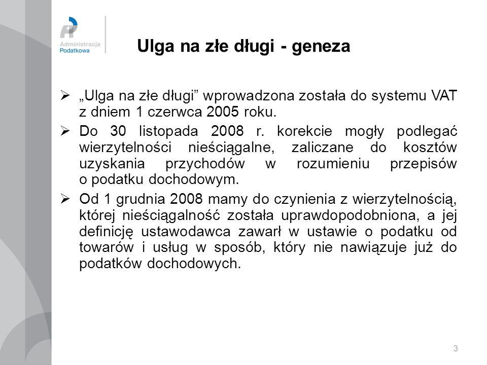 3 Ulga na złe długi - geneza Ulga na złe długi wprowadzona została do systemu VAT z dniem 1 czerwca 2005 roku. Do 30 listopada 2008 r. korekcie mogły