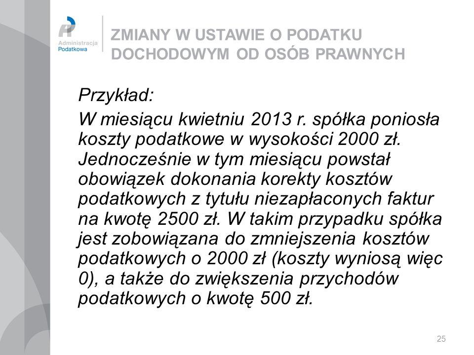 25 ZMIANY W USTAWIE O PODATKU DOCHODOWYM OD OSÓB PRAWNYCH Przykład: W miesiącu kwietniu 2013 r. spółka poniosła koszty podatkowe w wysokości 2000 zł.