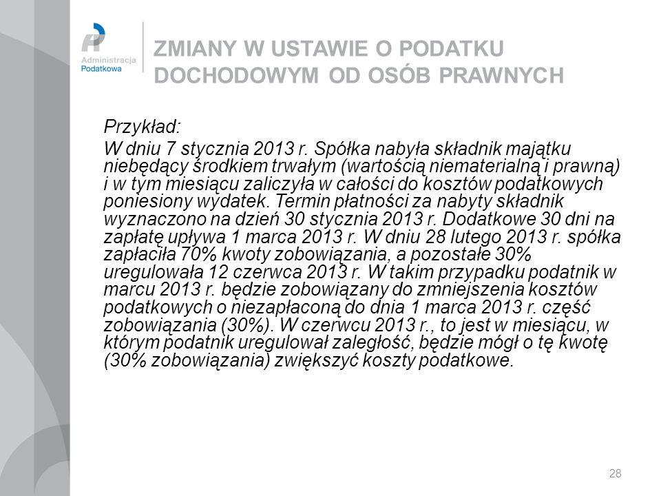 28 ZMIANY W USTAWIE O PODATKU DOCHODOWYM OD OSÓB PRAWNYCH Przykład: W dniu 7 stycznia 2013 r. Spółka nabyła składnik majątku niebędący środkiem trwały