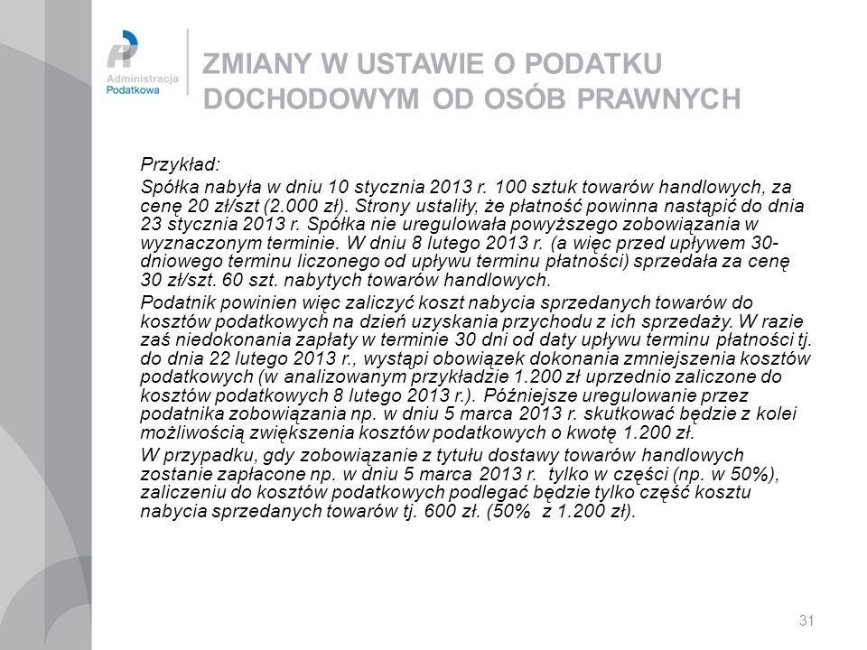 31 ZMIANY W USTAWIE O PODATKU DOCHODOWYM OD OSÓB PRAWNYCH Przykład: Spółka nabyła w dniu 10 stycznia 2013 r. 100 sztuk towarów handlowych, za cenę 20
