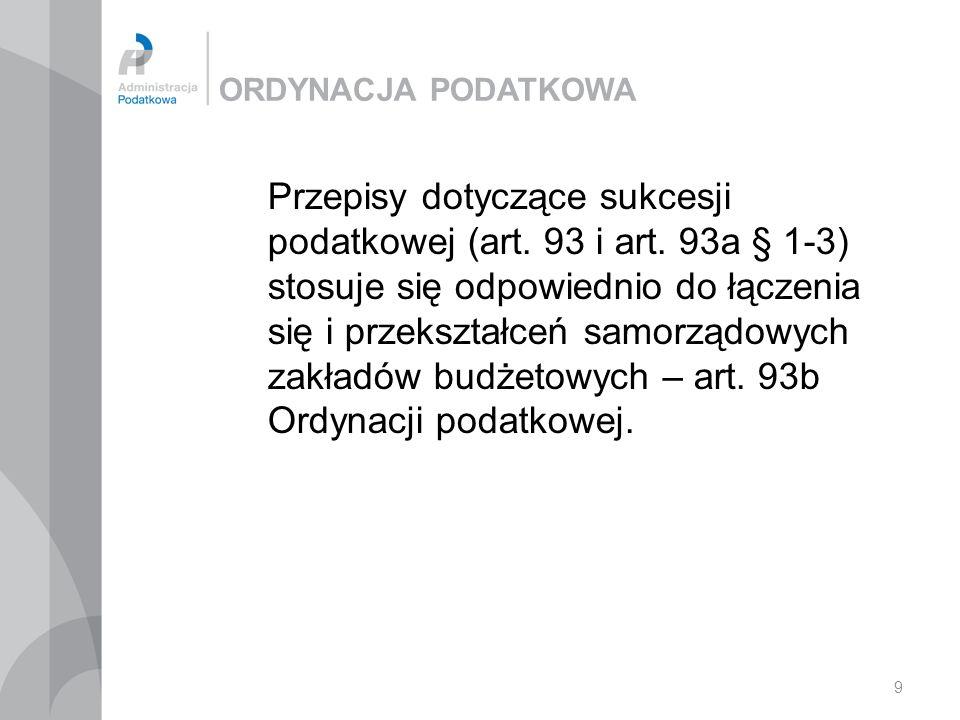 9 ORDYNACJA PODATKOWA Przepisy dotyczące sukcesji podatkowej (art.