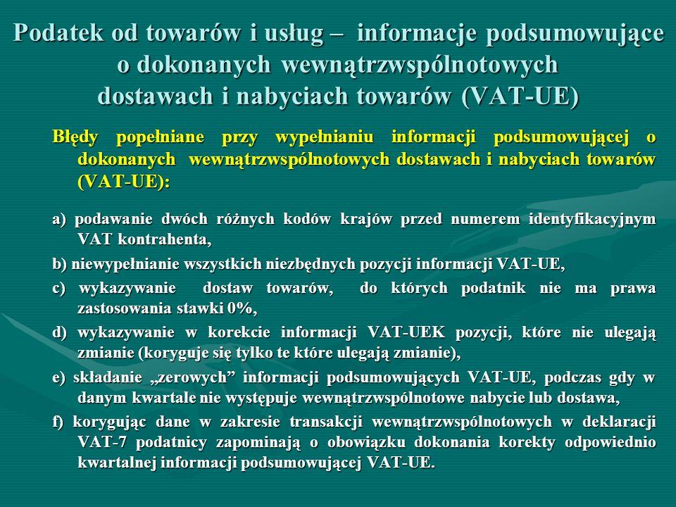 Podatek od towarów i usług – informacje podsumowujące o dokonanych wewnątrzwspólnotowych dostawach i nabyciach towarów (VAT-UE) Błędy popełniane przy