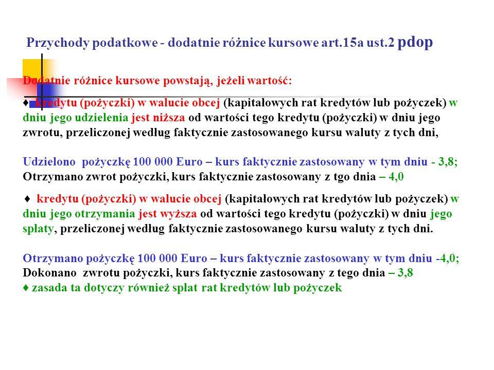 Przychody podatkowe - dodatnie różnice kursowe art.15a ust.2 pdop Dodatnie różnice kursowe powstają, jeżeli wartość: kredytu (pożyczki) w walucie obce
