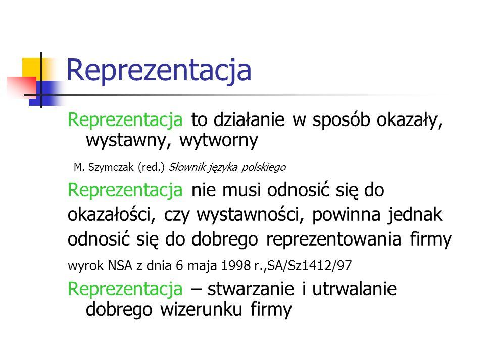 Reprezentacja Reprezentacja to działanie w sposób okazały, wystawny, wytworny M. Szymczak (red.) Słownik języka polskiego Reprezentacja nie musi odnos