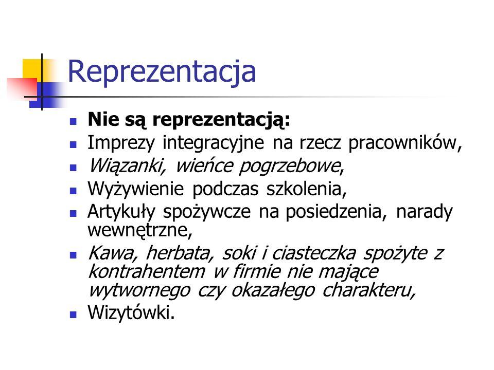 Reprezentacja Nie są reprezentacją: Imprezy integracyjne na rzecz pracowników, Wiązanki, wieńce pogrzebowe, Wyżywienie podczas szkolenia, Artykuły spo