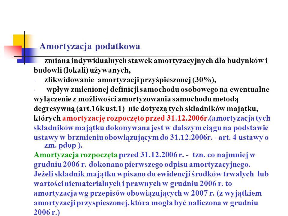 Amortyzacja podatkowa - zmiana indywidualnych stawek amortyzacyjnych dla budynków i budowli (lokali) używanych, - zlikwidowanie amortyzacji przyśpiesz