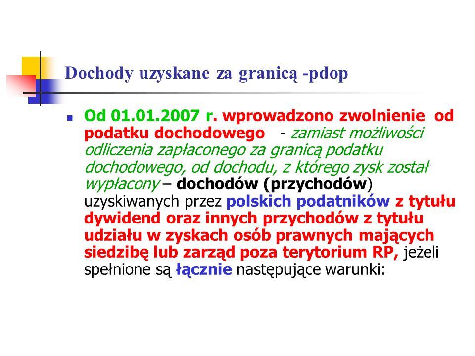 Dochody uzyskane za granicą -pdop Od 01.01.2007 r. wprowadzono zwolnienie od podatku dochodowego - zamiast możliwości odliczenia zapłaconego za granic