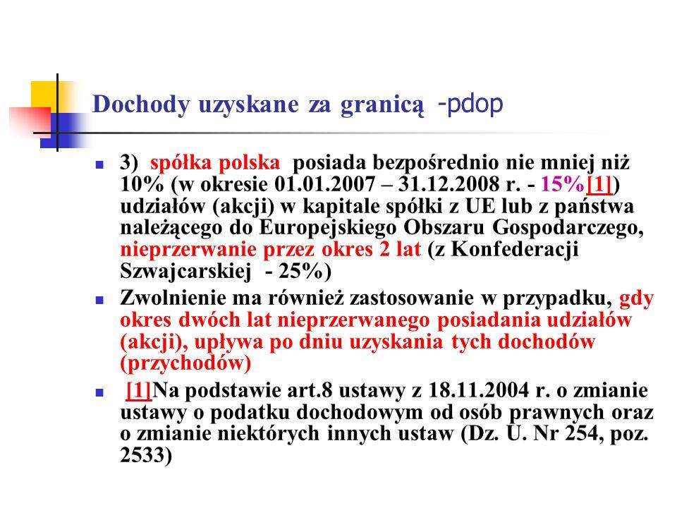 Dochody uzyskane za granicą -pdop 3) spółka polska posiada bezpośrednio nie mniej niż 10% (w okresie 01.01.2007 – 31.12.2008 r. - 15%[1]) udziałów (ak