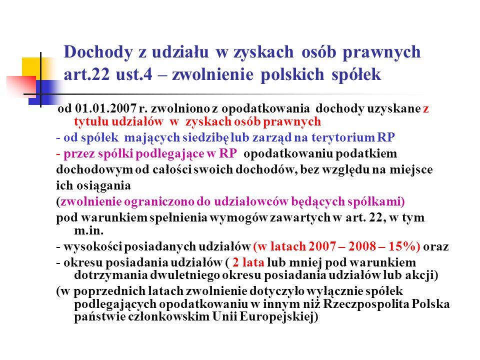 Dochody z udziału w zyskach osób prawnych art.22 ust.4 – zwolnienie polskich spółek od 01.01.2007 r. zwolniono z opodatkowania dochody uzyskane z tytu