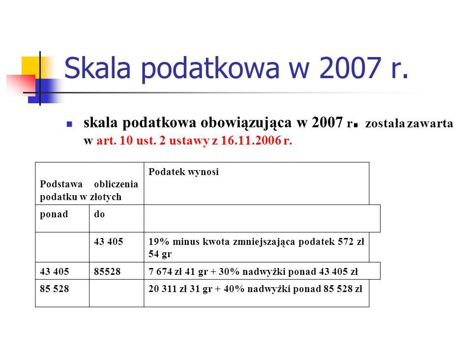 Skala podatkowa w 2007 r. skala podatkowa obowiązująca w 2007 r. została zawarta w art. 10 ust. 2 ustawy z 16.11.2006 r. Podstawa obliczenia podatku