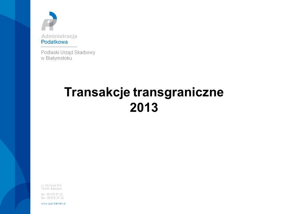 Transakcje transgraniczne 2013 ul. Młynowa 21A 15-404 Białystok tel.: 85 878 87 03 fax : 85 878 87 02 www.pus.biaman.pl Podlaski Urząd Skarbowy w Biał