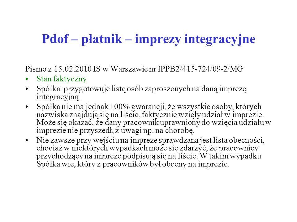 Pdof – płatnik – imprezy integracyjne Pismo z 15.02.2010 IS w Warszawie nr IPPB2/415-724/09-2/MG Stan faktyczny Spółka przygotowuje listę osób zaprosz