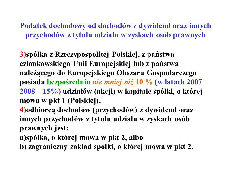 Podatek dochodowy od dochodów z dywidend oraz innych przychodów z tytułu udziału w zyskach osób prawnych 3)spółka z Rzeczypospolitej Polskiej, z państ