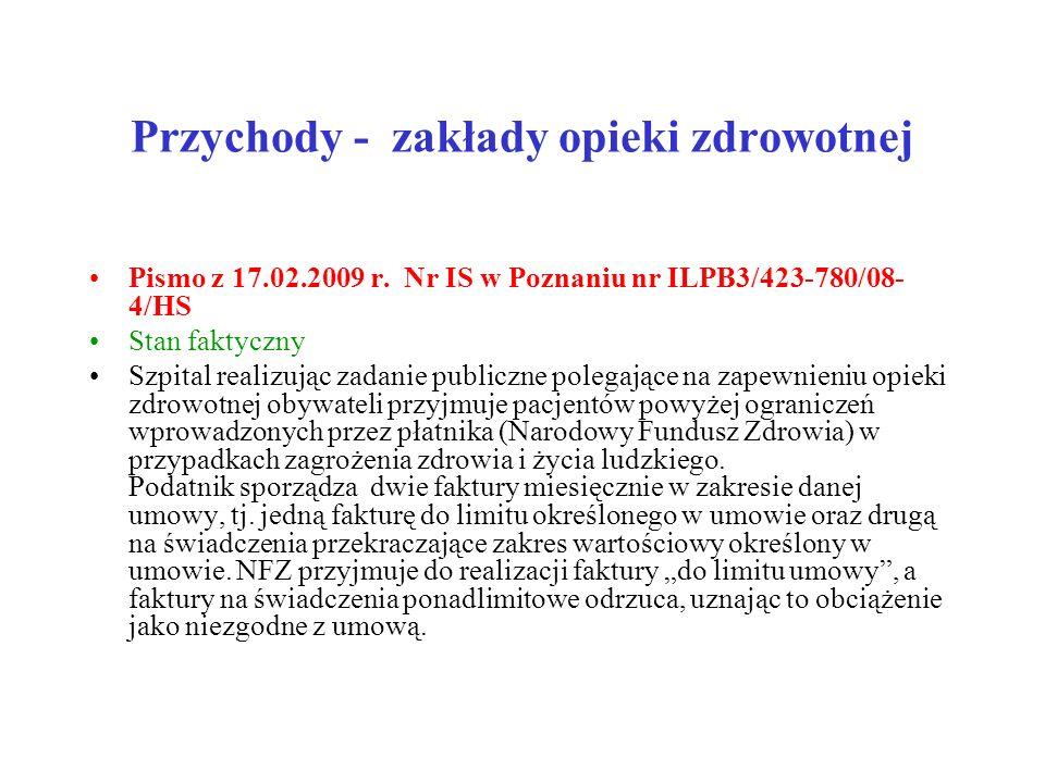 Przychody - zakłady opieki zdrowotnej Pismo z 17.02.2009 r. Nr IS w Poznaniu nr ILPB3/423-780/08- 4/HS Stan faktyczny Szpital realizując zadanie publi