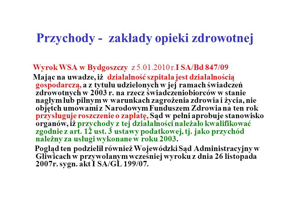 Przychody - zakłady opieki zdrowotnej Wyrok WSA w Bydgoszczy z 5.01.2010 r.I SA/Bd 847/09 Mając na uwadze, iż działalność szpitala jest działalnością