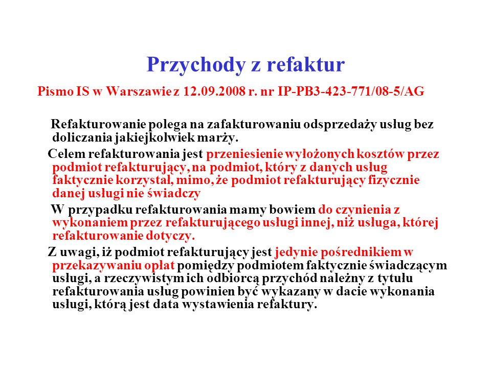 Przychody z refaktur Pismo IS w Warszawie z 12.09.2008 r. nr IP-PB3-423-771/08-5/AG Refakturowanie polega na zafakturowaniu odsprzedaży usług bez doli