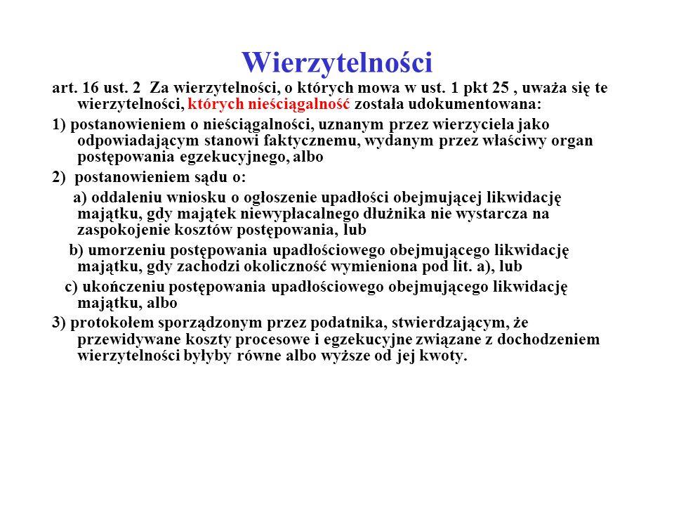 Wierzytelności art. 16 ust. 2 Za wierzytelności, o których mowa w ust. 1 pkt 25, uważa się te wierzytelności, których nieściągalność została udokument