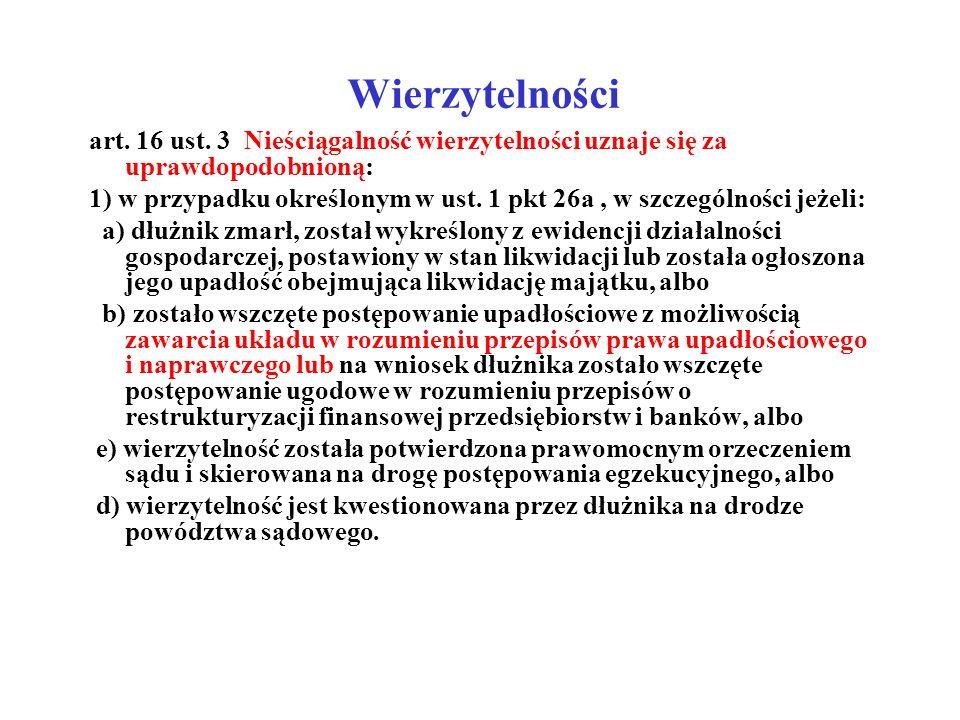 Wierzytelności art. 16 ust. 3 Nieściągalność wierzytelności uznaje się za uprawdopodobnioną: 1) w przypadku określonym w ust. 1 pkt 26a, w szczególnoś