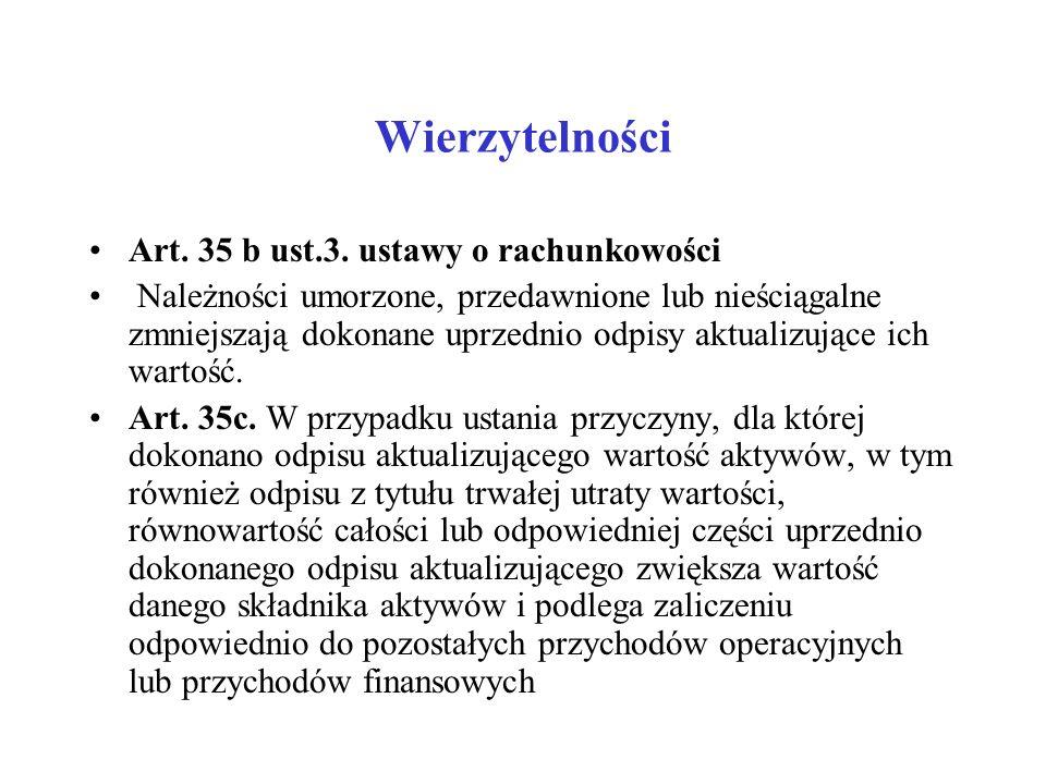 Wierzytelności Art. 35 b ust.3. ustawy o rachunkowości Należności umorzone, przedawnione lub nieściągalne zmniejszają dokonane uprzednio odpisy aktual